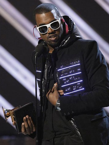 Kanye West Flaunts Wearable Electronics at Grammy Awards